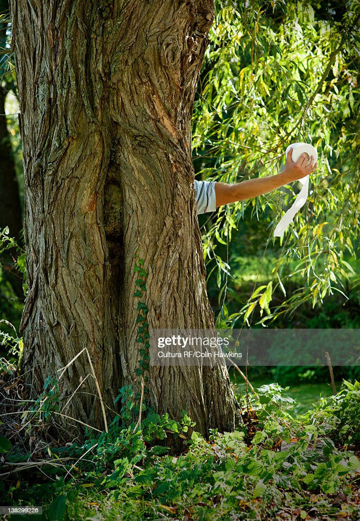 Man holding toilet paper behind tree : Stock Photo