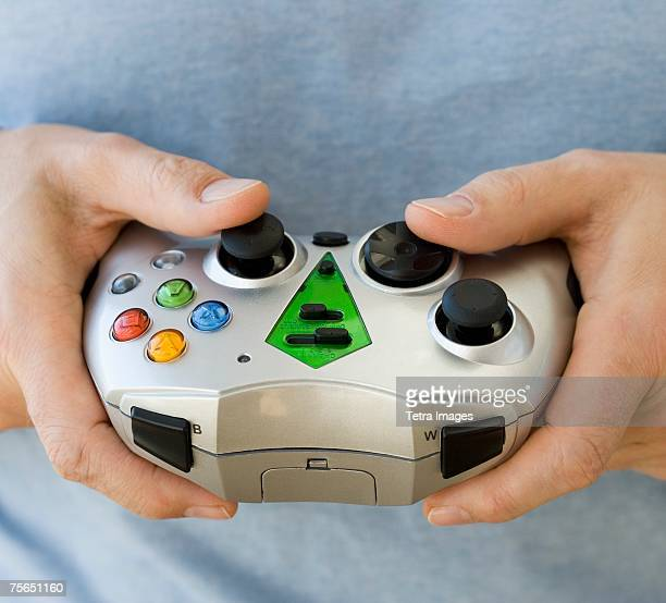 Man holding video game controller