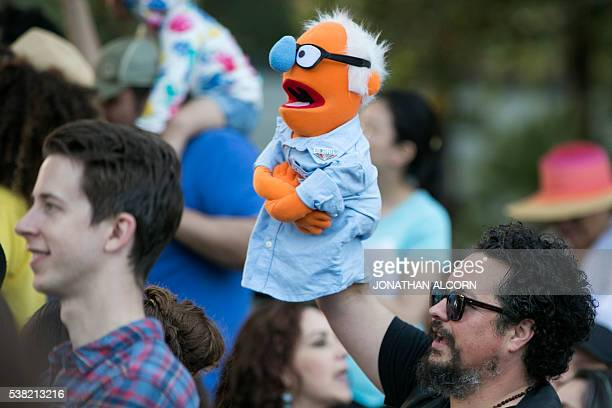 A man holds a Bernie Sanders puppet at Democratic presidential candidate Senator Bernie Sanders' GOTV concert and campaign rally at the Los Angeles...
