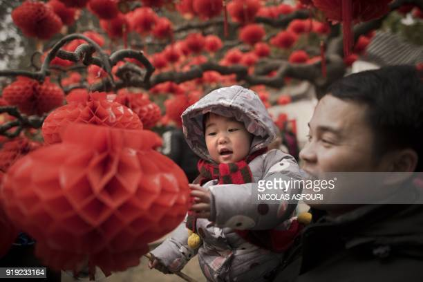 A man holds a child next to a tree decorated with lanterns at a fair to celebrate the Lunar New Year marking the Year of the Dog at the Ditan park in...