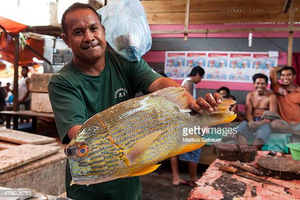 CONTENT] A man holds a fish on a street market in Jakarta Indonesia