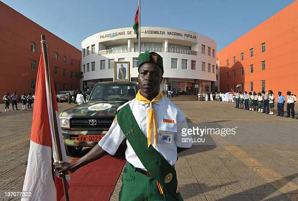 A man holds a flag as the vehicle carrying the coffin of Guinea Bissau president Malam Bacai Sanha prepares to leave the national assembly during his...