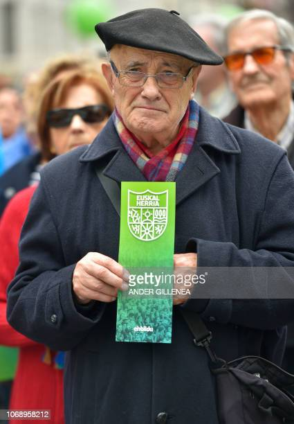 A man holds a flier depecting the Basque Country standart during a demonstration against the Spanish Constitution and in favor of a Basque Republic...