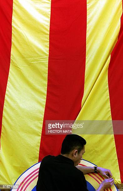 A man holds a giant flag of the former regime of South Vietnam at the entrance of a video shop covered 27 February in Little Saigon California For...
