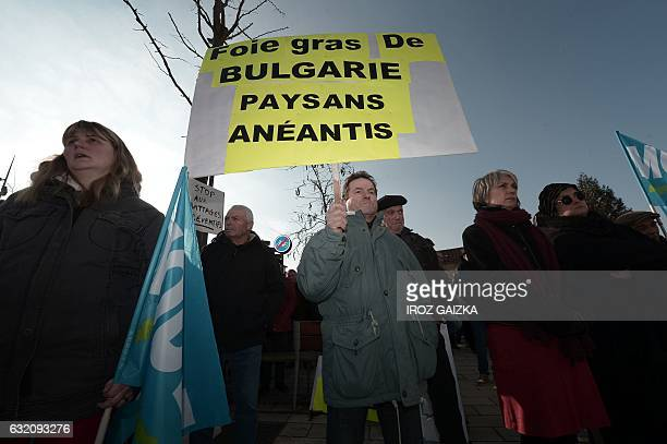 "Man holds a sign reading ""Foie gras from Bulgaria, farmers devastated"" during a protest in front of the DDCSSP in Mont-de-Marsan on January 19, 2017..."