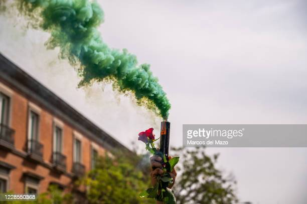 Man holds a smoke bomb and a rose during a protest of Police and Civil Guards union Jusapol in front of the Spanish Parliament. Police and Civil...