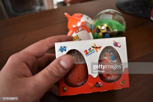 A man holds chocolate eggs with surprise toys in Ankara Turkey on December 28 2018 Turkey's Ministry of Trade announced on December 28 that all the...