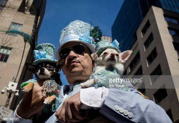 A man holds dogs during the Easter Parade and Bonnet Festival along 5th Avenue in New York The parade is a New York tradition dating back to the...