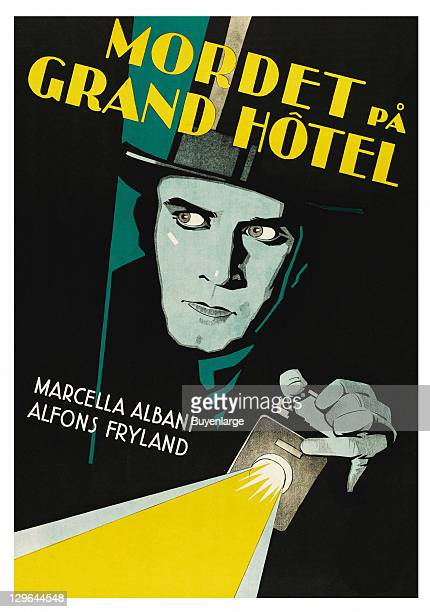 man holds flashlight and peers into a dark room on a poster that advertises the movie 'Grand Hotel' 1929