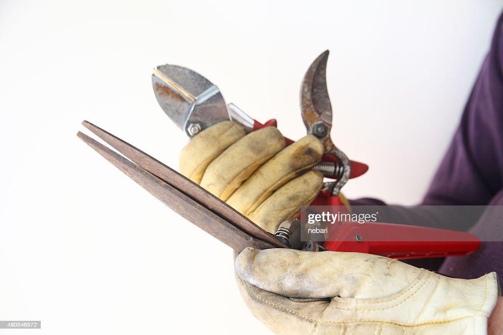 Homem detém velho enferrujado ferramentas de jardim, : Foto de stock