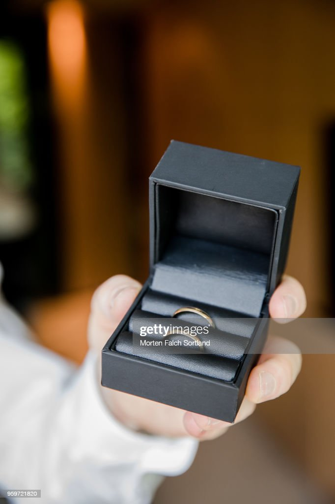 A Man Holds out a Box of Wedding Rings during Celebrations in Berlin, Germany Summertime : Stock-Foto