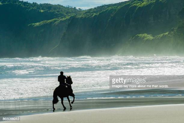 Man horseback riding at the beach.