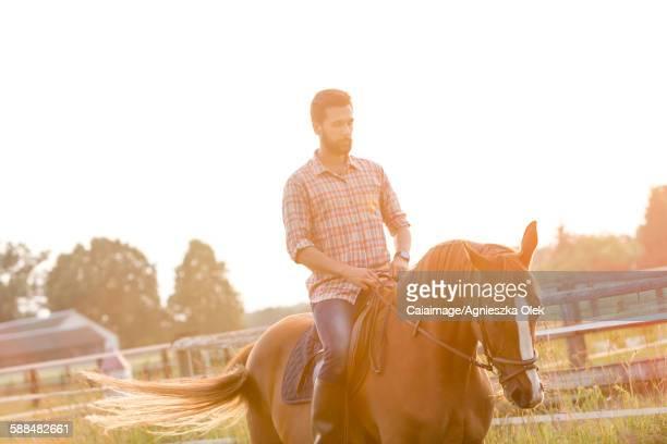Man horseback riding in sunny rural pasture