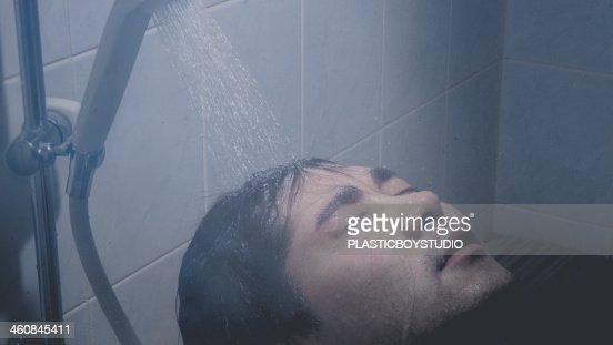 Man / hot water / shower / water droplets / bath