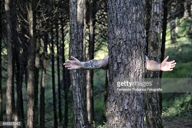 man hugging a tree in the forest