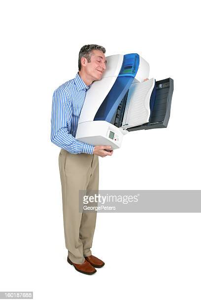 Man Hugging Inkjet Printer with Clipping Path