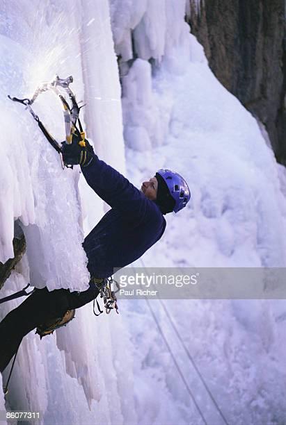 Man ice climbing at Ouray, Colorado
