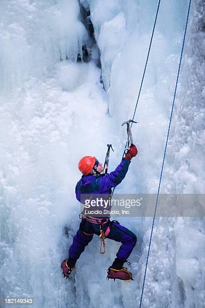 Man Ice Climbing Jasper National Park Maligne Canyon Alberta Canada