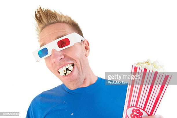 Man in 3-D Glasses Eats Popcorn on White Background