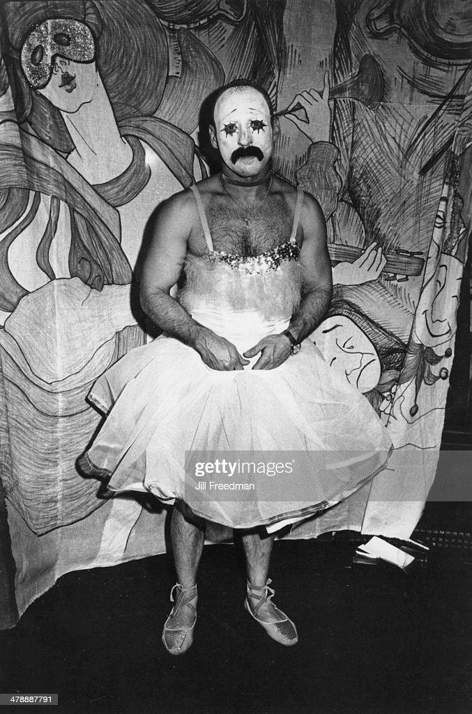A man in a ballerina dress during Halloween in Midtown Manhattan, New York City, circa 1977.