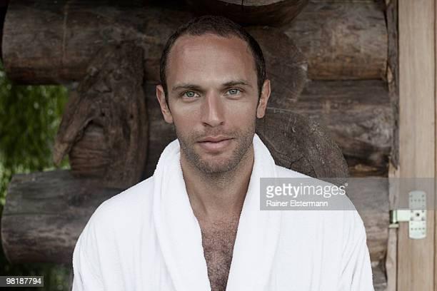 A man in a bathrobe, portrait