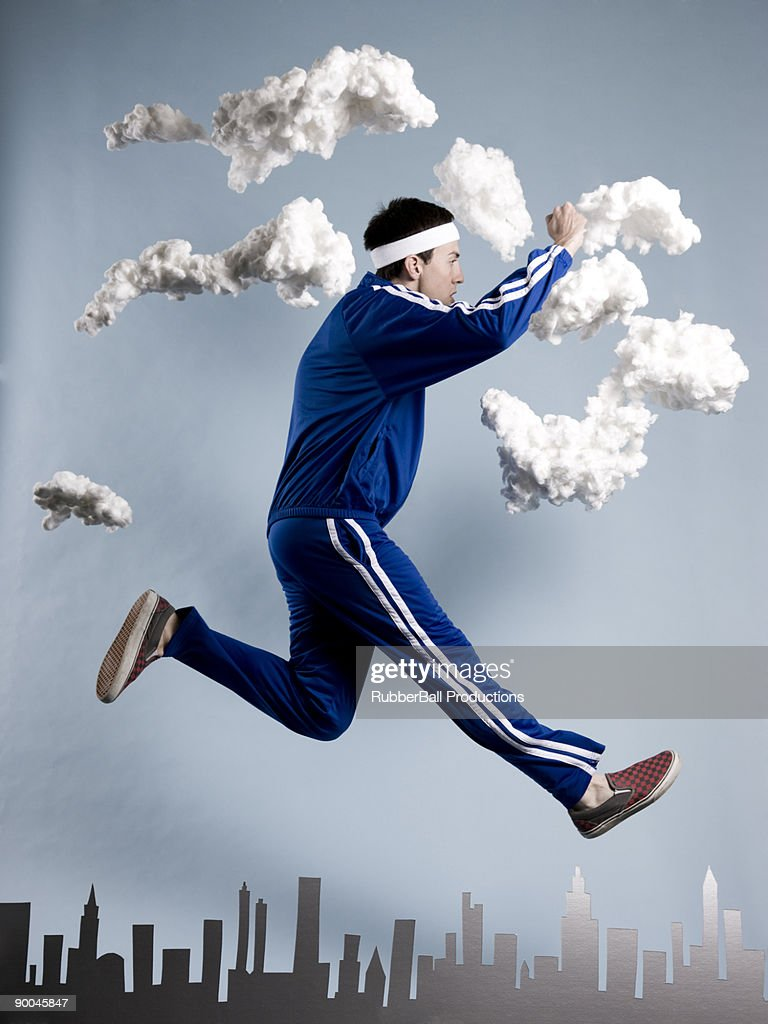 man in a blue tracksuit : Stock Photo