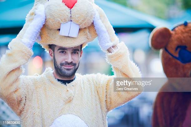 Man in a bunny costume