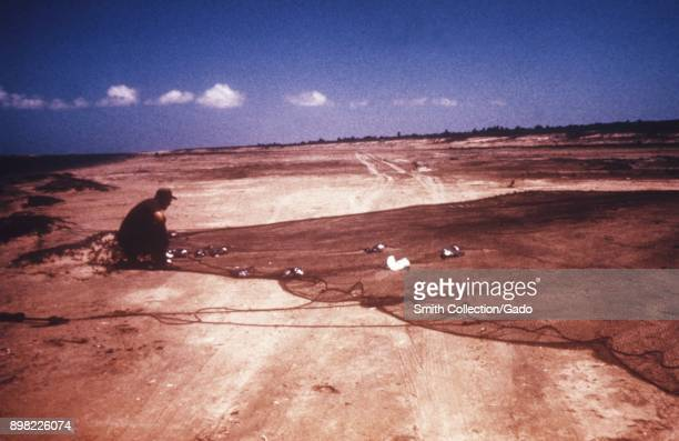 Man in a coastal landscape kneels in the sand over a cannonnet that has trapped several large birds which will be used in Centers for Disease Control...