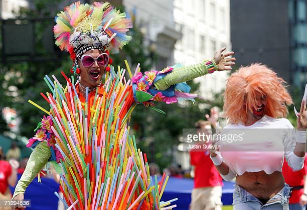 Man in a costume waves to the crowd during the 36th annual LGBT Pride Parade June 25, 2006 in San Francisco. Hundreds of thousands of spectators...