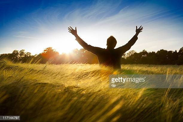 Man in a field with hands raised to the sun