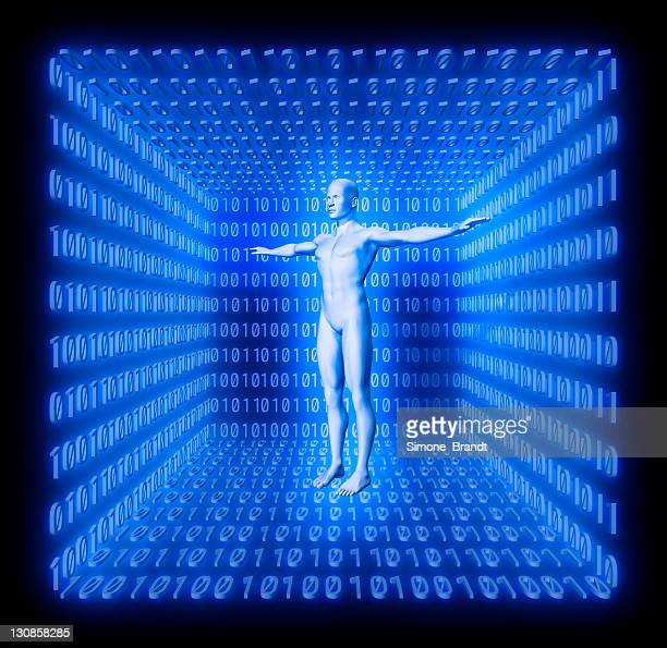 Man in a futuristic room made from binary code, concept digitalisation, virtual reality, avatar