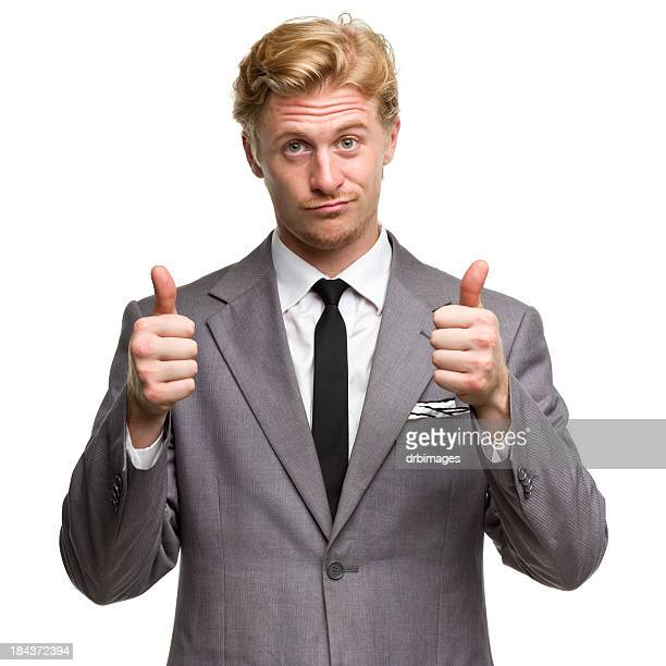 a man in a gray suit giving the thumbs up with both hands - grey suit stock pictures, royalty-free photos & images