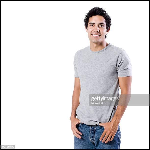 man in a grey shirt - alleen jonge mannen stockfoto's en -beelden