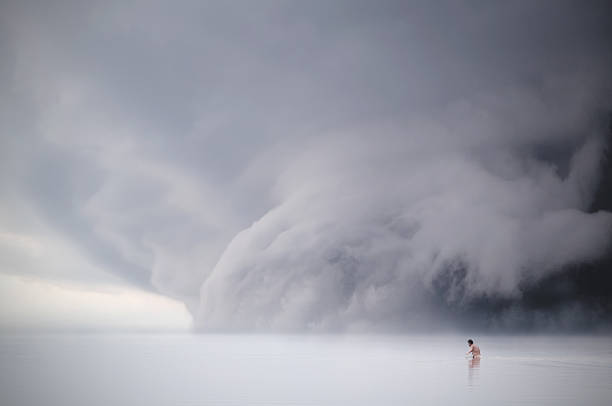 Man In A Lake, Dramatic Sky, Supercell Wall Art