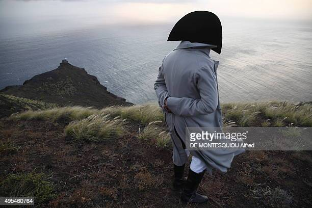 A man in a Napoleon Bonaparte costume poses on october 10 2015 in SaintHelena Island United Kingdom