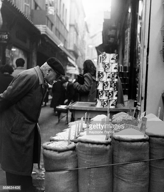 Man in a Pedestrian Street in Marseille France in 1956