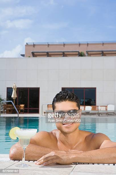 Man in a Rooftop Pool