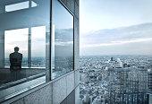 man in a skyscraper