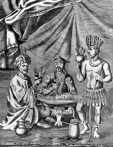 Man in a turban drinking coffee, a Chinese man drinking tea and a South American drinking chocolate around a table. Original Publication: From...