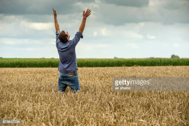 Man in a wheat field, arms outstretched
