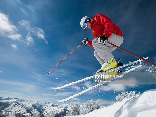 Man in air on skis
