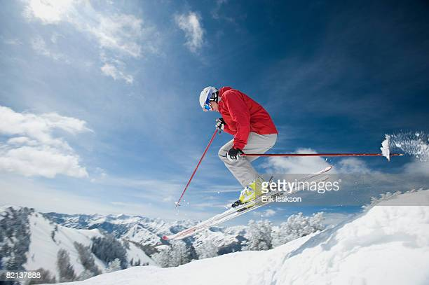 man in air on skis - park city utah stock pictures, royalty-free photos & images