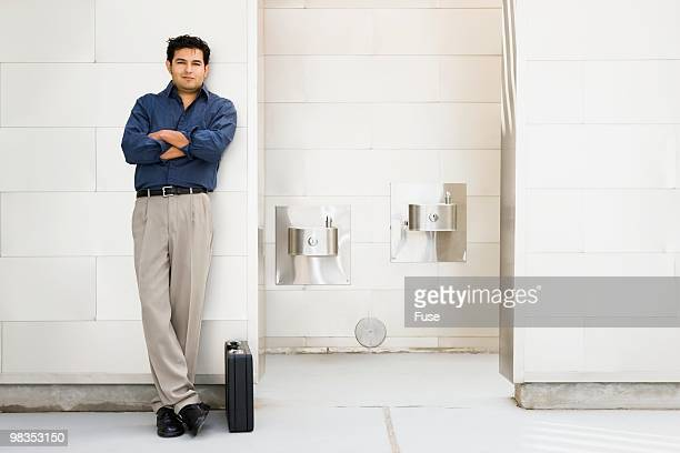Man in an office lobby
