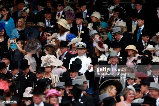 A man in an US Marines suit amongst the crowd during Day Three of the 2014 Royal Ascot Meeting at Ascot Racecourse Berkshire