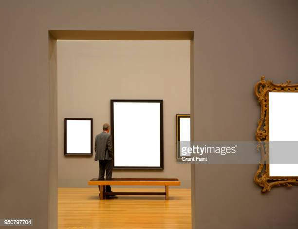man in art gallery looking at paintings - museum fotografías e imágenes de stock