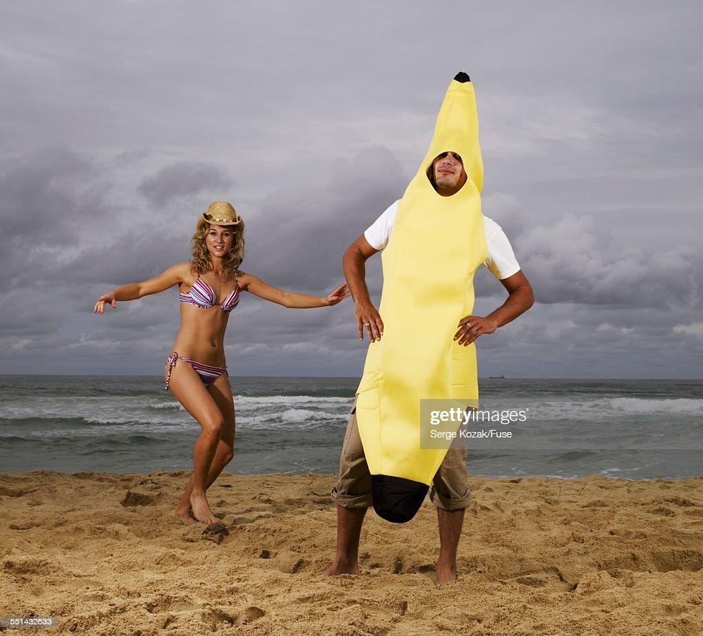 Man in Banana Costume on Beach  Stock Photo & Man In Banana Costume On Beach Stock Photo | Getty Images