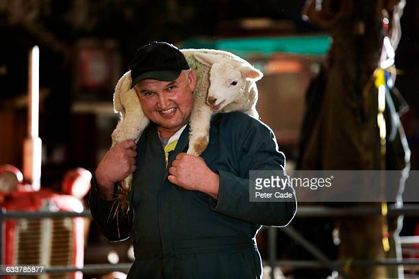 Man in bar with lamb on shoulders