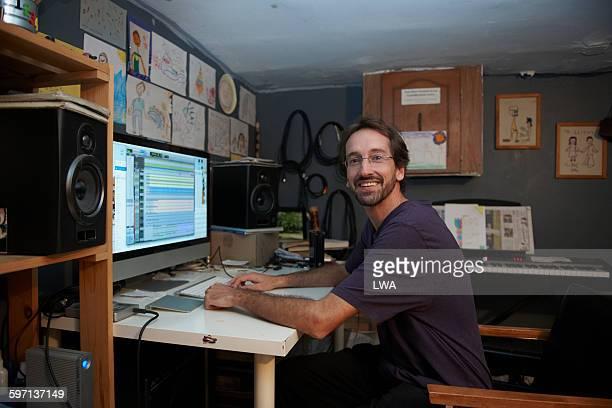 Man in basement home office