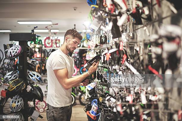 Man in bicycle store