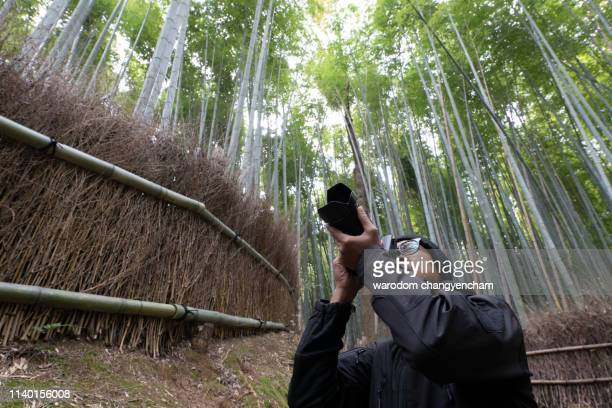 man in black jacket with camera stands at the arashiyama bamboo grove , kyoto, japan, in winter season. - image - black bamboo stock pictures, royalty-free photos & images